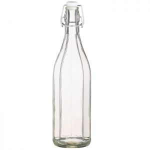 KitchenCraft Glass Oil Bottle With Pop Stopper - 1 Litre