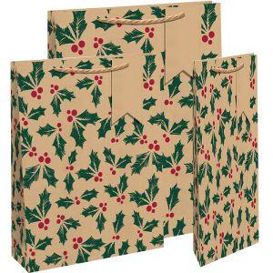Kraft Holly Gift Bag