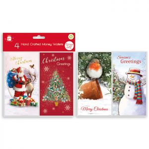 Traditional Christmas Money Wallets - Pack of 4