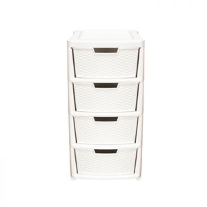 Thumbs Up Rattan 4 Drawer Tower - Cream