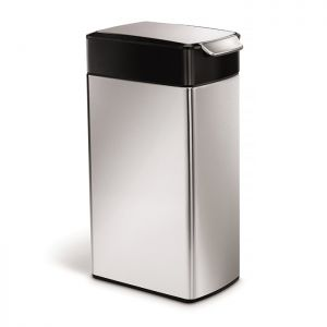 Simplehuman Slim Touch Bar Bin, 40 Litre - Black Top, Stainless Steel