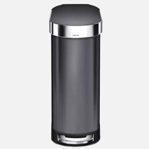 Simplehuman 45 Litre Slim Pedal Bin - Black Stainless Steel