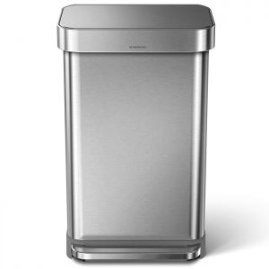 Simplehuman 45 Litre Rectangular Pedal Bin with Liner Pocket - Brushed Stainless Steel
