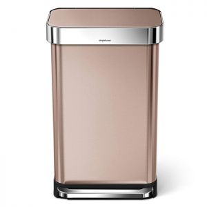 Simplehuman 45 Litre Rectangular Pedal Bin with a Liner Pocket - Rose Gold