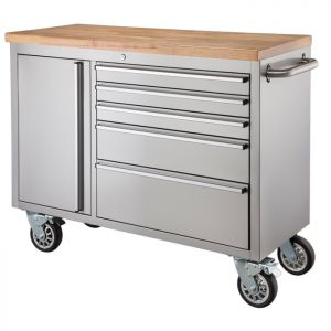 """48"""" Stainless Steel 5 Drawer Tool Cabinet & Workbench"""