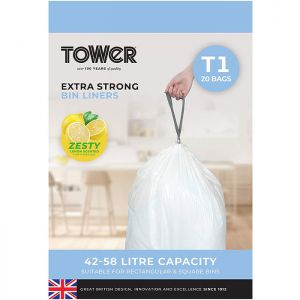 Tower Lemon Scented Bin Liners 42-58 Litres – 20 Pack