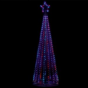 Premier LED 1.4m Pin Wire Pyramid Tree - Rainbow