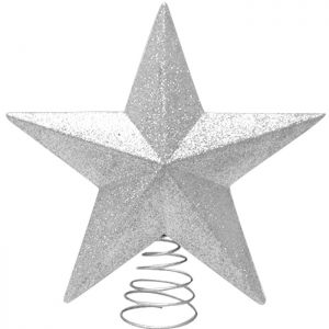 Glitter Star Tree Topper, 28cm - Silver