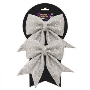 Glitter and Sequin Decorative Christmas Bows - Silver - Pack of 2