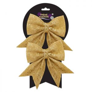 Glitter and Sequin Decorative Christmas Bows - Gold - Pack of 2