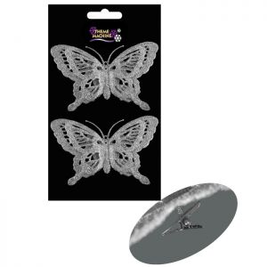 Clip On Glitter Butterfly Decorations, 2 Pack – Silver