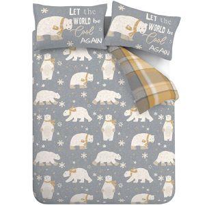 Catherine Lansfield Brushed Polar Bear Duvet Set - Grey/Ochre