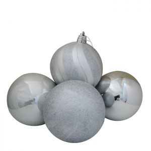 Luxury Baubles, 4 Pack – Silver