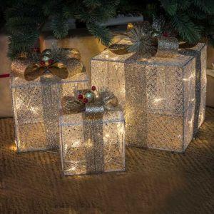 NOMA Set of 3 Decorative LED Lit Parcels - Silver