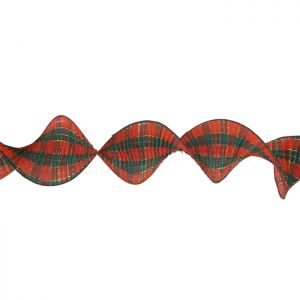 Ruffled Tartan Christmas Ribbon – 10cm x 2.7m