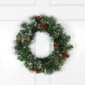 Decoris 50cm Snow, Berry and Cone Wreath