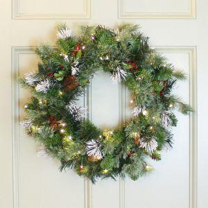 National Tree 60cm Wintry Pine Pre-Lit Wreath