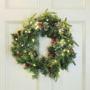 National Tree 60cm Colonial Pine 'Feel Real' Pre-Lit Wreath