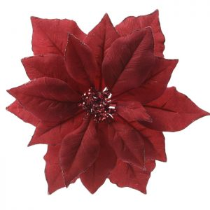 Clip On Poinsettia - Red