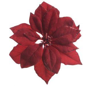 Kaemingk Clip On Poinsettia Decoration - Dark Red