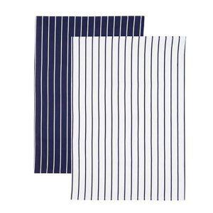 KitchenCraft Tea Towels, Pack of 2 - Butcher's Stripe