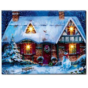 Premier Snowy Village Scene LED Canvas - Wintry Cottage