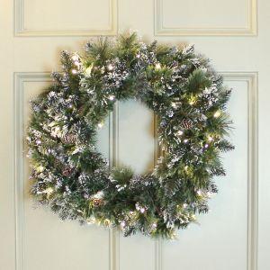 National Tree 60cm Glittery Bristle Pre-Lit Wreath