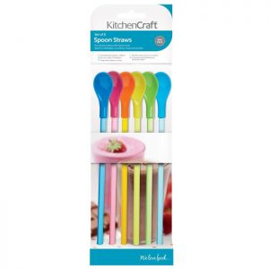 KitchenCraft Plastic Spoon Straws - Pack of 6