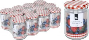 12 x Excellent Houseware Glass Jar with Metal Lid, 500ml