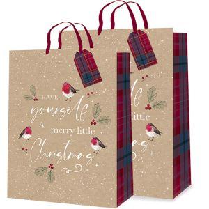 Robin Tartan Christmas Gift Bag