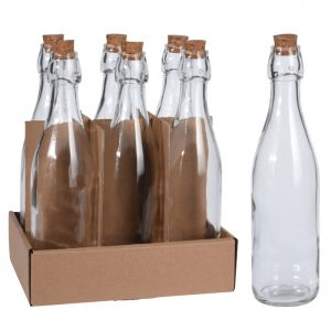 6 x Excellent Houseware Glass Bottle with Cork Lid, 500ml