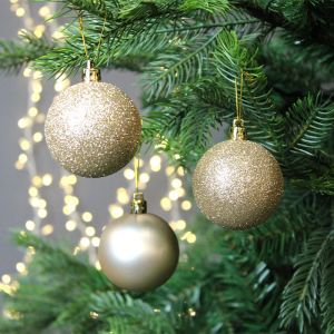 6cm Baubles, 10 Pack -  Champagne
