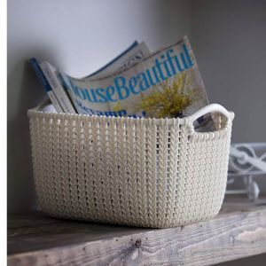 Curver Knit Rectangular Storage Basket - 8 Litre, Oasis White