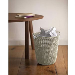 Curver Knit Waste Paper Basket - 7 Litres, Oasis White