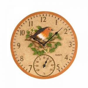 Outside In Robin Thermometer & Wall Clock