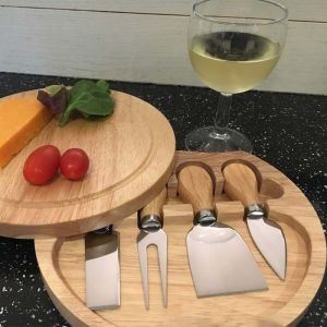 Apollo Hevea Wood Cheese Board With Knives