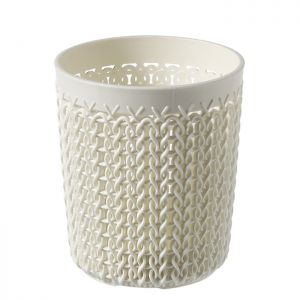 Curver Knit Small Storage Pot, Oasis White