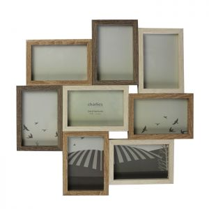 8 Aperture Collage Photo Frame, Wooden Effect
