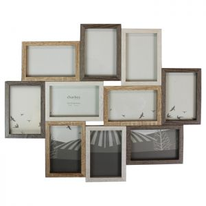 10 Aperture Collage Photo Frame, Wooden Effect