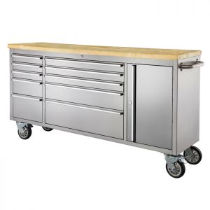 """72"""" Stainless Steel 10 Drawer Tool Cabinet & Workbench"""