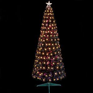 Premier Slim Black Fibre Optic LED Star Tree - 1.2m