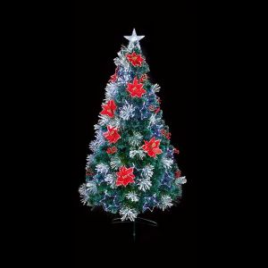 Premier Frosted Pre-Lit Christmas Tree with Poinsettia and Pine Cones - 1.2m