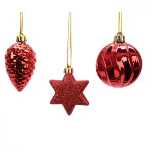 Kaemingk Shatterproof Figurine Baubles, 3 Pack - Christmas Red