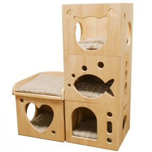 Rosewood Wooden Cat Sleeper Caves - Set of 4