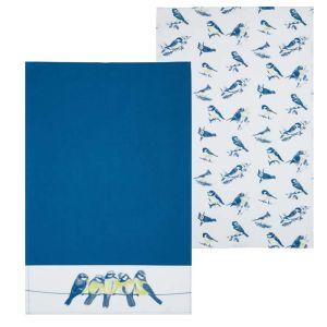 KitchenCraft Tea Towels, Pack of 2 - Blue Birds