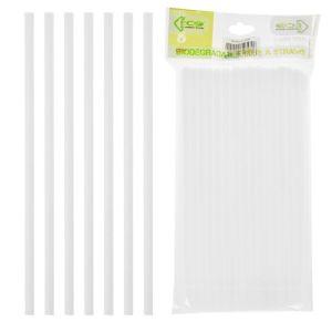 Biodegradable Straws, White - Pack of 80