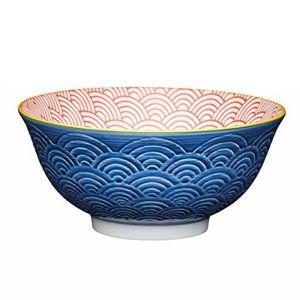 KitchenCraft Glazed Ceramic Bowl - Blue and Red Arc