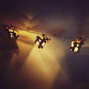 Wooden Reindeer String Lights - 10 Lights
