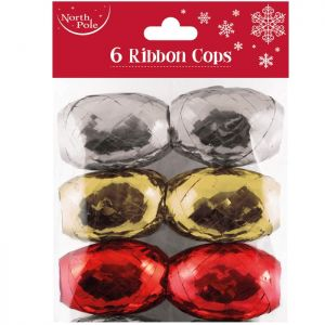 Ribbon Cops - Silver, Gold and Red - Pack of 6