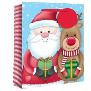 Santa and Reindeer Christmas Gift Bag